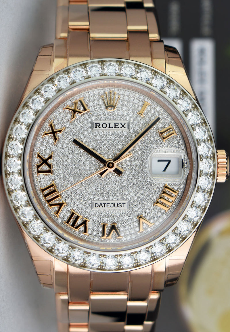 ROLEX - 18kt Rose Gold MASTERPIECE Pearlmaster Pave Diamond 86285