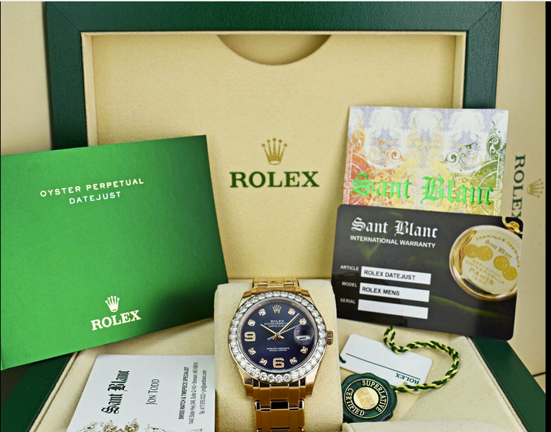 ROLEX - 18kt Rose Gold MASTERPIECE Pearlmaster Purple Diamond 86285