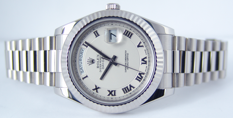 ROLEX White Gold Day Date II President Ivory Concentric Roman Dial Model 218239 SANT BLANC