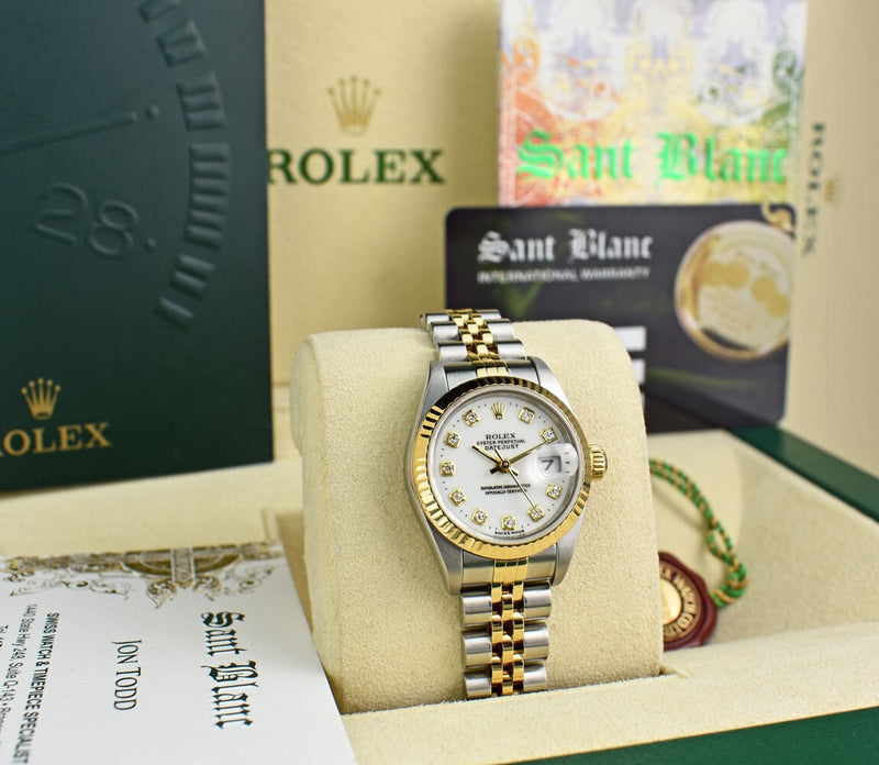 ROLEX Ladies 18kt Gold & Stainless Steel DateJust White Diamond Dial Model 79173