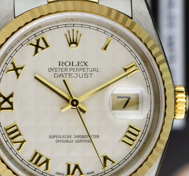 ROLEX Mens 18kt Gold & Stainless DateJust Ivory Pyramid Roman Dial Model 16233