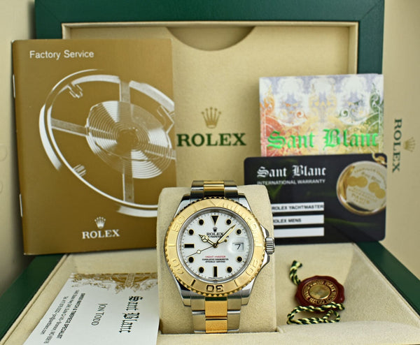 ROLEX Rehaut 18kt Gold & Stainless Yachtmaster White Index Model 16623