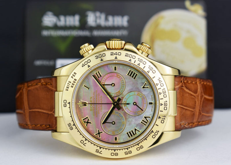ROLEX 18kt Gold Daytona Tahitian Mother of Pearl Roman Brown Strap Model 116518