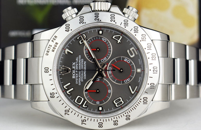 ROLEX Mens Stainless Steel DAYTONA Gray Arabic Race Fat Buckle 116520