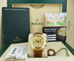 ROLEX Rehaut 40mm 18kt Gold Daytona Brown Strap Champagne Index Model 116518
