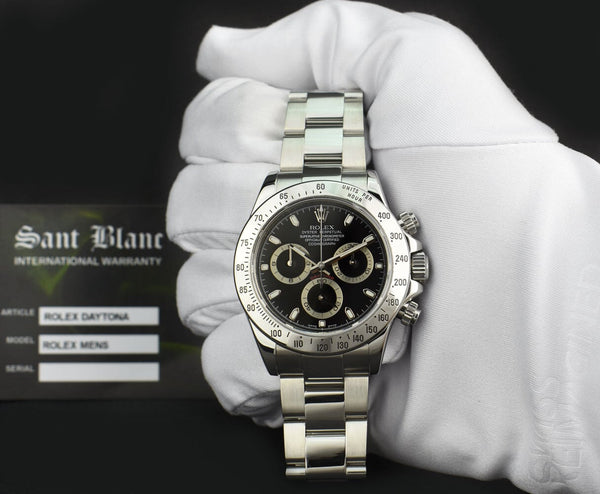ROLEX Rehaut Mens Stainless Steel Daytona Black Index Dial Model 116520