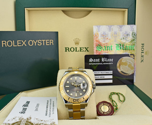 ROLEX - 18KT GOLD & Stainless MidSize YACHTMASTER Slate Dial - 168623