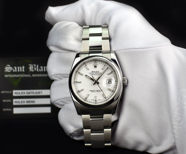 ROLEX Mens Stainless Steel DateJust White Index Dial Oyster Band Model 116200
