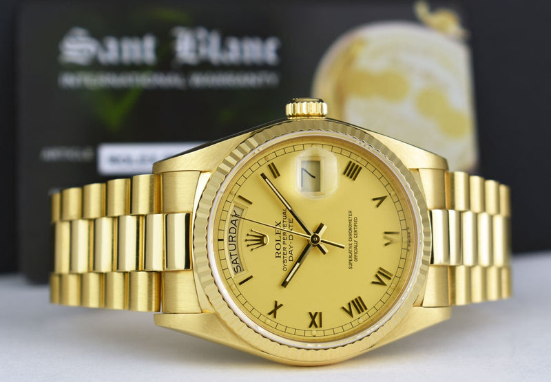 ROLEX - 18kt Gold Day Date PRESIDENT Champagne Roman 18038