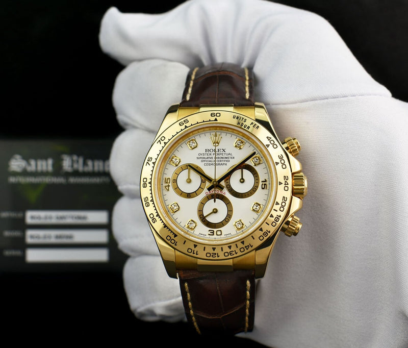 ROLEX REHAUT Mens 18kt Gold Daytona White Diamond Dial Brown Strap 116518