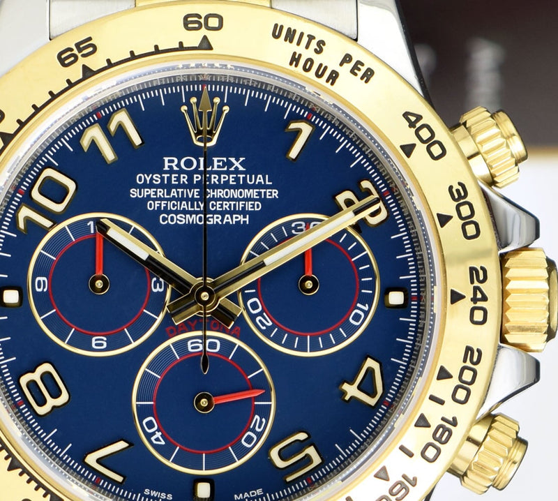 ROLEX 18kt Gold & Stainless Steel Daytona Blue Arabic Dial Model 116503