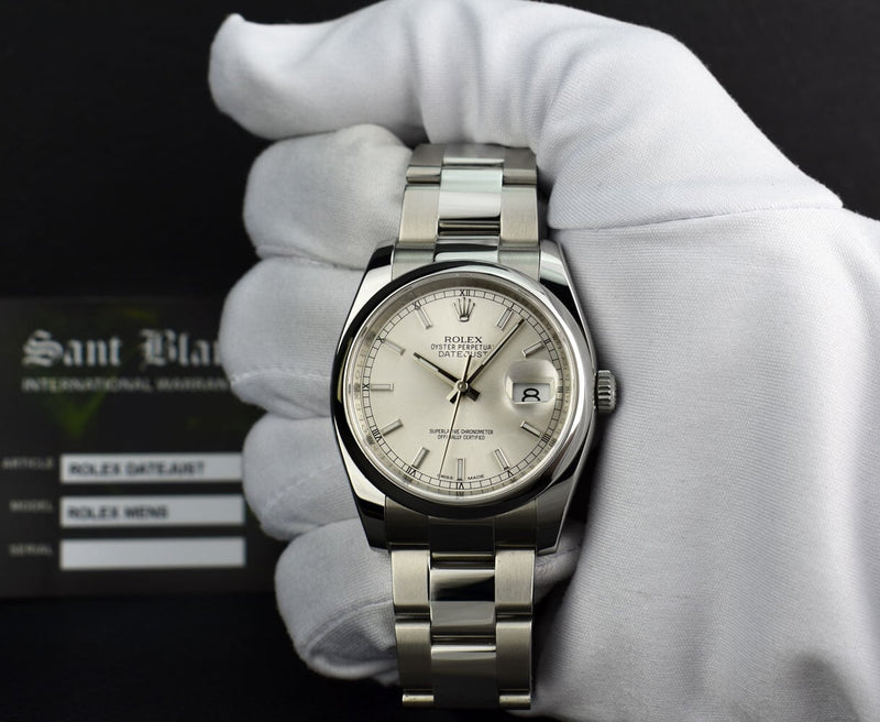 ROLEX Mens Stainless Steel DateJust Silver Index Dial Model 116200