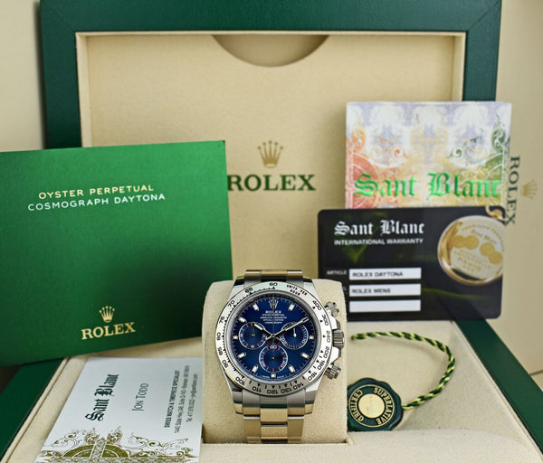 ROLEX Mens 18kt White Gold DAYTONA Blue Index Dial with Fat Buckle 116509