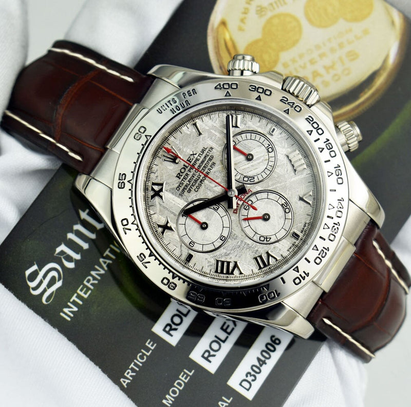 ROLEX 18kt White Gold Daytona on Brown & White Strap Meteroite Dial 116519