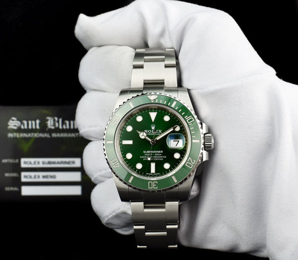 "ROLEX Mens Stainless Steel SUBMARINER Green CERAMIC ""HULK"" 116610LV"