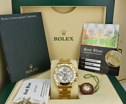 ROLEX 18kt Gold Daytona Mother Of Pearl Diamond Dial Model 116528