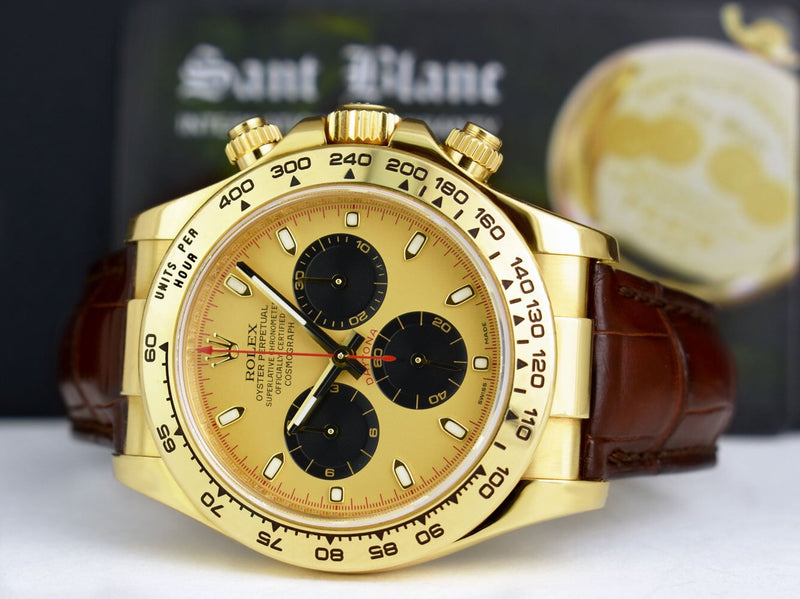 ROLEX 18kt Gold DAYTONA Brown Strap Champagne Paul Newman Model 116518