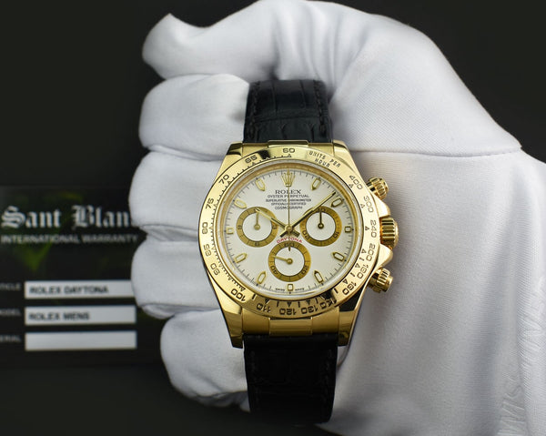 ROLEX REHAUT 18kt Gold Daytona Black Crocodile Strap White Index 116518