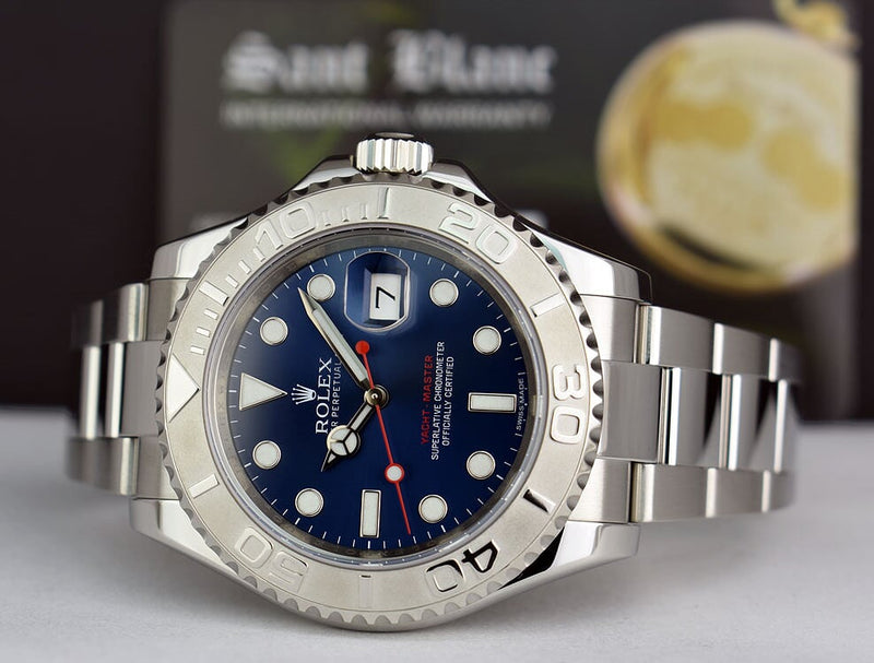 Rolex Mens Platinum & Stainless Steel YachtMaster Blue Index Dial Model 116622