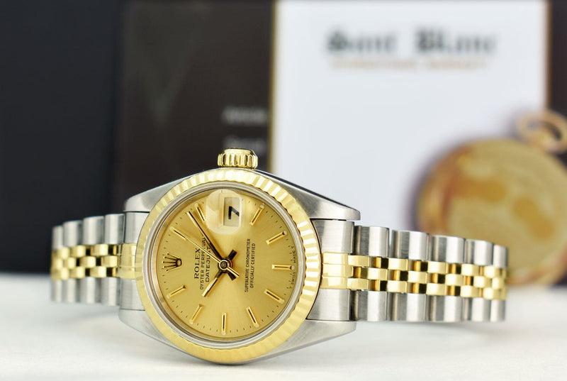 ROLEX Ladies 18kt Gold & Stainless Steel DateJust Champagne Stick Dial Model 69173