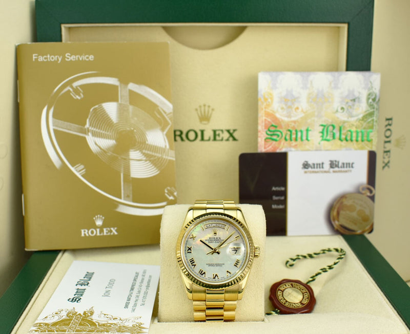 ROLEX 36mm 18kt Gold Day Date President MOP Roman Dial Fat Buckle Model 118238