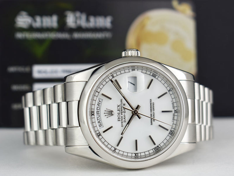 ROLEX Mens PLATINUM Day Date President White Stick Fat Buckle