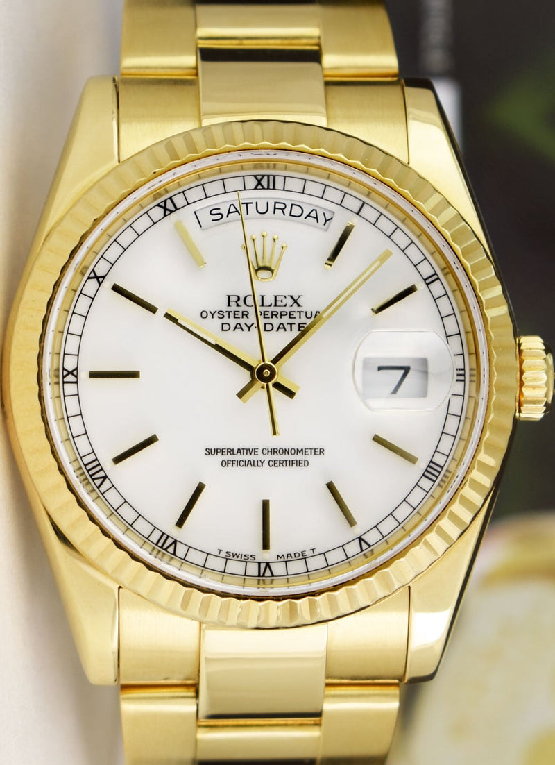 ROLEX Mens 18kt Gold Day Date Oyster Band White Stick Dial Model 118238