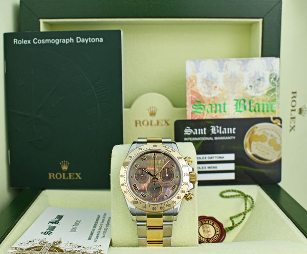 ROLEX 18kt Yellow Gold & Stainless Steel Daytona Tahitian MOP Roman Dial Model 116523