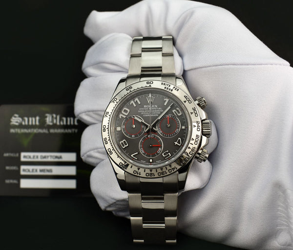ROLEX 40mm 18kt White Gold Daytona Grey Race Arabic Dial 116509