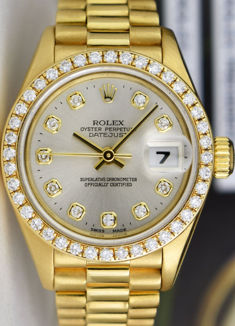 ROLEX Ladies 18kt Gold President Datejust Silver Diamond Bezel 69138