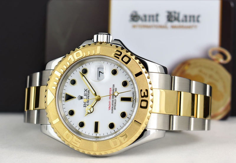 ROLEX - 40mm 18kt Gold & SS YachtMaster 40 White Index 16623