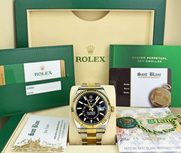 ROLEX Mens 18kt Gold & Stainless Sky Dweller Black Index Dial with Card Model 326933