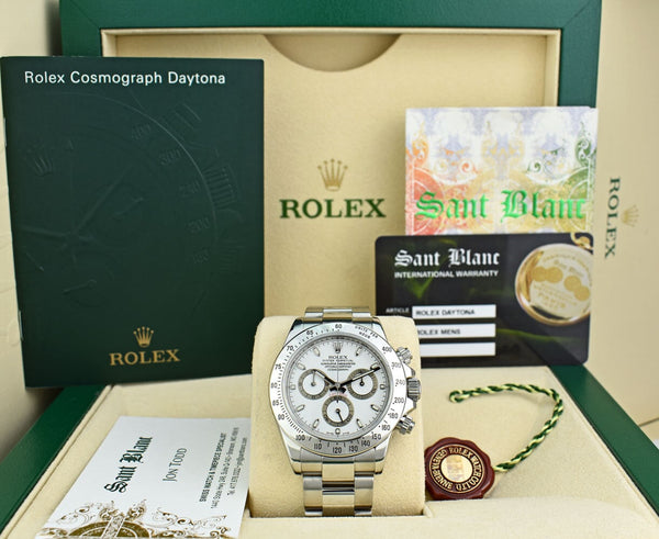 ROLEX Rehaut Mens Stainless Steel Daytona White Index Dial Model 116520