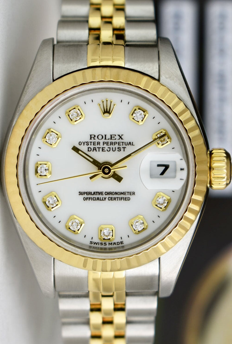 ROLEX Ladies 18kt Gold & Stainless DateJust White Diamond Model 79173