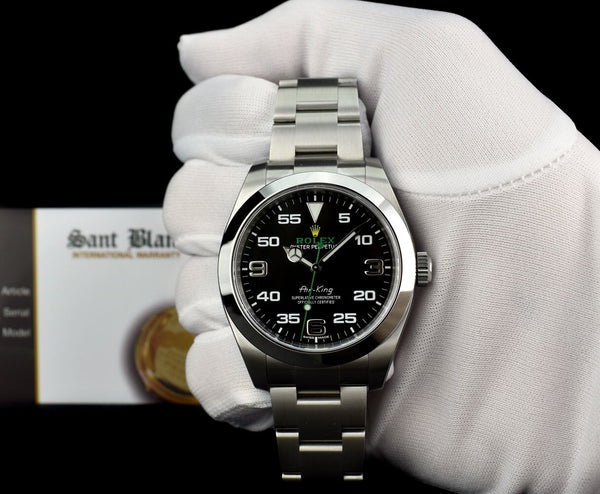 ROLEX 40mm Stainless Steel Air King Black Arabic Dial Model 116900