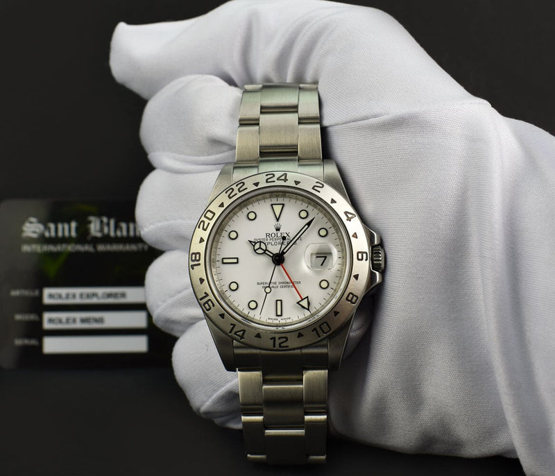 ROLEX 40mm Mens Stainless Steel Explorer II White Dial 16570