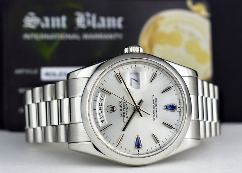 ROLEX PLATINUM Day Date President Silver Sapphire Fat Buckle 118206