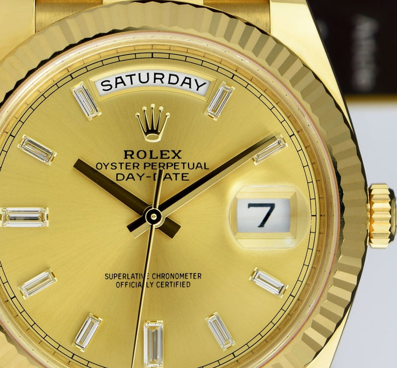 2020 ROLEX 18kt Gold President Day Date 40 Champagne Diamond Dial Model 228238