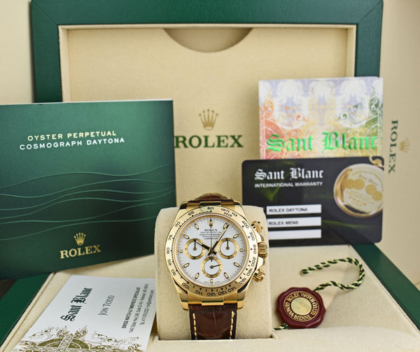 ROLEX REHAUT 18kt Yellow Gold Daytona White Index Dial Chocolate Strap Model 116518