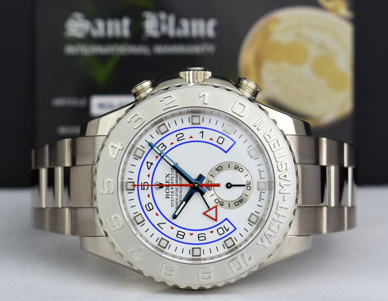 ROLEX Mens 44mm 18kt White Gold Yachtmaster II Blue Hands 116689