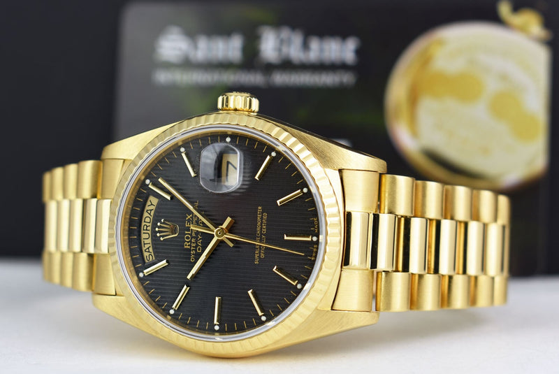 ROLEX Mens 18kt Gold Day Date PRESIDENT Black Tapestry Stick 18038