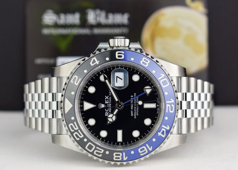 "ROLEX Stainless Steel GMT Master II Blue Black Bezel ""Batman"" Index Dial Box, Books & Card Model 126710"