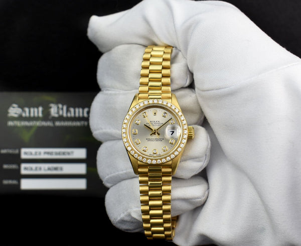 ROLEX Ladies 18kt Gold President Datejust Silver Diamond Dial Diamond Bezel Model 69138