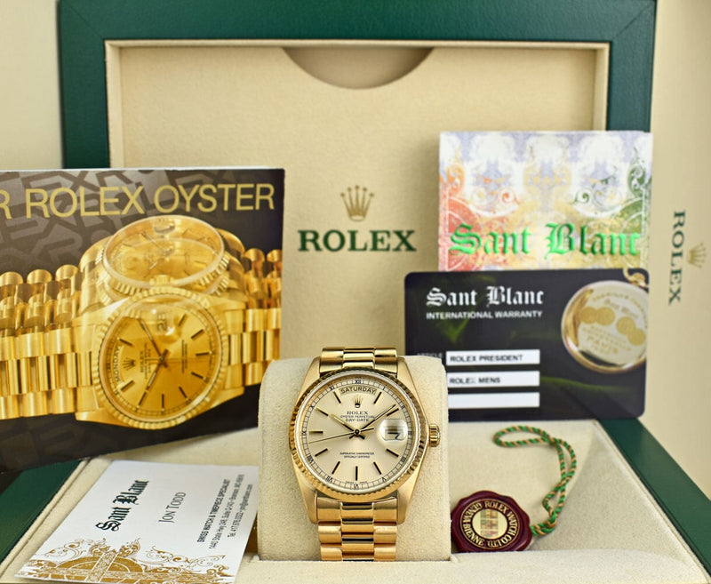 ROLEX 18kt Gold Day Date PRESIDENT Light Champagne Stick Dial Model 18038
