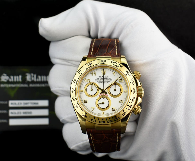 ROLEX Mens 18kt Gold Daytona White Arabic Dial Brown Strap 116518