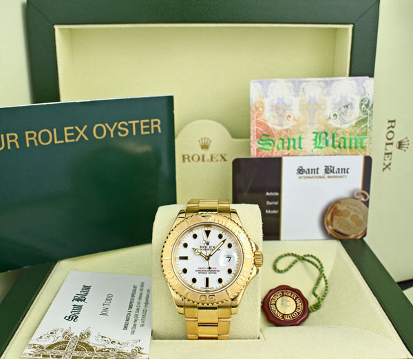 ROLEX 40mm 18kt Gold YachtMaster White Bold Black Index Dial Model 16628