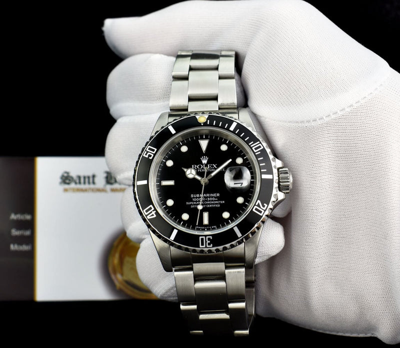 ROLEX Mens Vintage Stainless Steel Submariner Black Dial Model 16610 SANT BLANC
