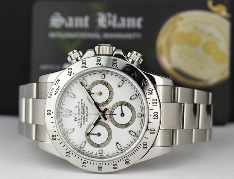 ROLEX - 40mm Stainless DAYTONA White Index Dial Fat Clasp 116520