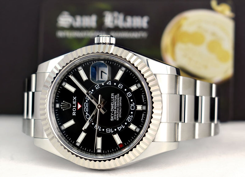 ROLEX 42mm Mens White Gold & Stainless Sky Dweller Black Index Dial Model 326934