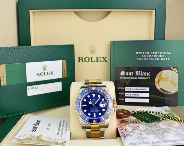 ROLEX 2015 18kt Gold Stainless Submariner Blue Box 116613LB